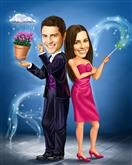 Magic Husband & Wife Caricature from Photos
