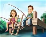 Fishin' on the Pier Caricature from Photos