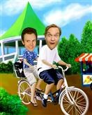Tandem Bicycle M/M Caricature from photos.