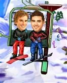Ski Lift M/M Caricature from photos.