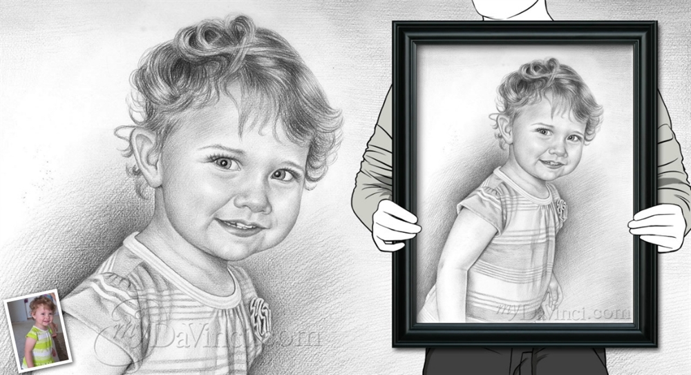 Hand drawn pencil sketch from photos mydavinci com