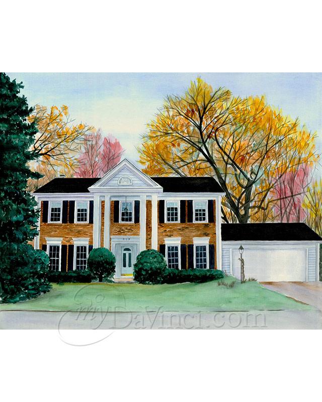 Custom House Watercolor Painting